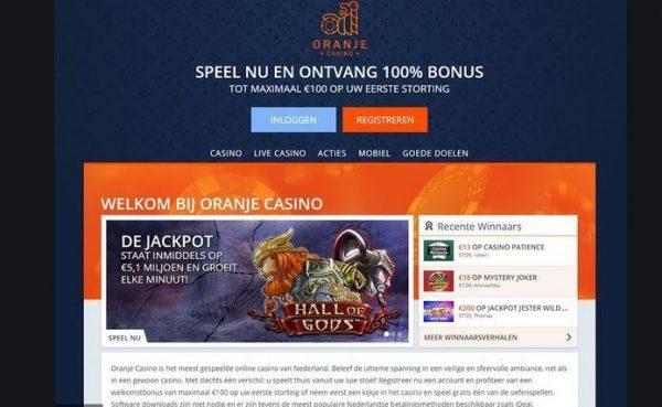 oranje casino jackpot